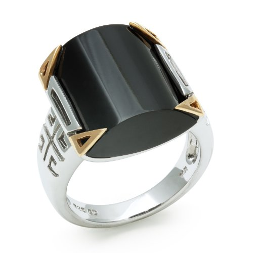 14KT Yellow Gold and Sterling Silver Celtic Ring with Square Onyx Gemstone, Free Shipping and Gift Box