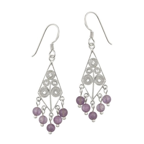 Sterling Silver Diamond Shaped Filigree French Wire Earrings with 5 Amethyst Drops