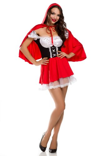 Ninimour- Deluxe Little Red Riding Hood Costume Dress /W Cape & Wrist Cuffs
