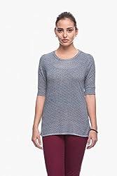 Womens Navy Printed T-Shirt