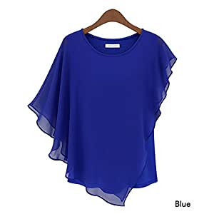 Summer Chiffon Blouses Shirts Blusas Batwing Sleeve (M, Blue) : Baby