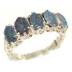 Victorian Design Solid English White 9K Gold Colorful Opal Ring - Size 5 - Finger Sizes 5 to 12 Available