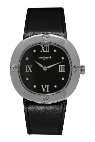 Cacharel CLD AA - 006/Women's Quartz Analogue Watch-Black Face-Black Leather Strap
