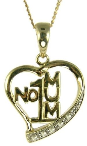 9ct Yellow Gold Ladies' Diamond Set Open Heart No. 1 Mum Pendant with 46cm Curb Chain