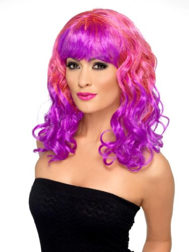 Smiffy's Divatastic Wig, Pink/Purple, One Size - 1