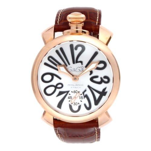 [ガガミラノ]GAGA MILANO 腕時計 マニュアーレ ホワイト文字盤 手巻き 裏蓋スケルトン スイス製 501106S-BRW メンズ 【並行輸入品】