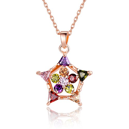 Bamoer Rose Gold Plated Brass Charm Necklace For Women Star Cubic Zirconium Jewelry