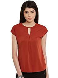 Rust Solid Poly Crepe Top
