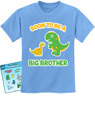 TeeStars - Soon To Be A Big Brother Gift Idea - Raptor Dinosaur Kids T-Shirt 2T California Blue (Future Big Brother compare prices)