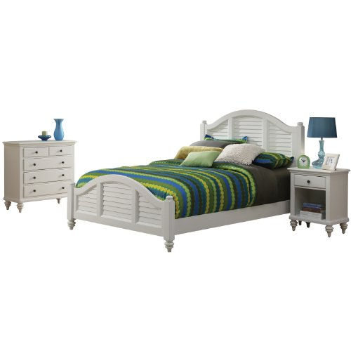 Home Styles 5543-6018 Bermuda Brushed Bed Frame With Night Stand And Chest, King, White