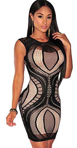NianNvJiao Women's Lace Nude Bodycon Popular Dress Black One Size