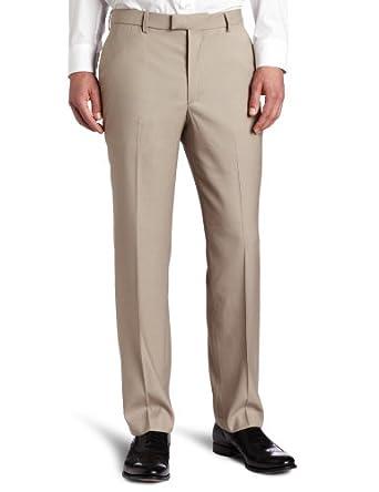 Perry Ellis Men's Portfolio Modern Fit Flat Front Solid Bengaline Pant, Beach, 34x34
