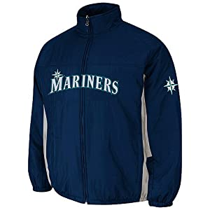 Seattle Mariners Navy Authentic Double Climate On-Field Jacket by Majestic by Majestic