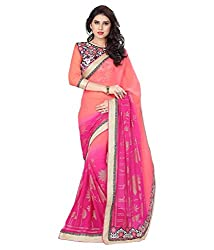 Pushkar Sarees Pure Georgette Saree (Pushkar Sarees_28_Peach)
