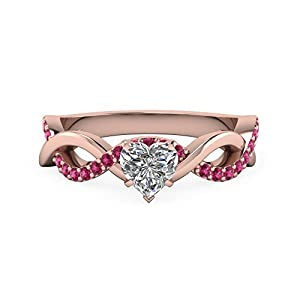 0.65 Ct Heart Shaped & Round Infinity Diamond Rings With Pink Sapphire 14K Gold GIA (I Color, IF Clarity)