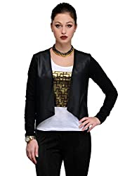 MySin Black Viscose Solid Shrug