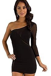 Qurves-Short One Shoulder Black Dress