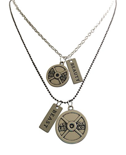 """Couples Fitness Necklaces, SET of """"Beauty"""" and """"Beast"""" Necklaces with Weight Plates By Thimbleful Threads"""