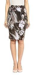 ZOYS Women's Lycra Regular Fit Skirt (ZOYS0007 _ 26, Grey)