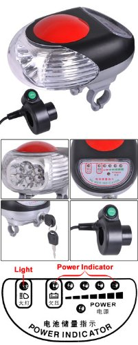 Electric Bicycle LED Light Headlight 24v w/ Power Indicator