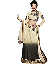 The Fashion World Cream Georgette Santoon & Chiffon Embroidered with Lace Worked Semi Stitched Anarkali Floor Length Salwar-Suit OR Gorgeous Lehenga Choli material