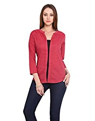Estellin Geometric Print Cotton 3/4 Sleeve Top (Large, Red)