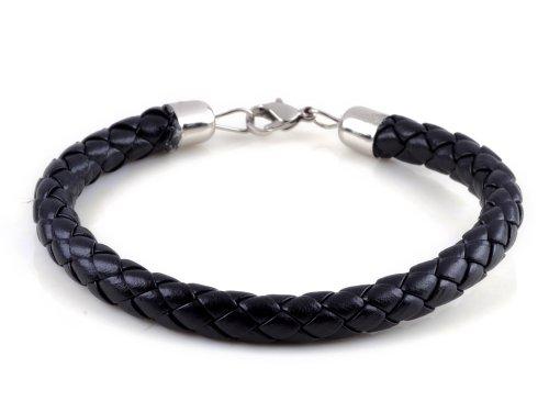 HOT Men's Braided Leather Wristband Bracelet Black 8