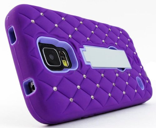 Mylife (Tm) Vibrant Violet Purple And Light Lavender - Diamond Shock Suit Survivor Series (Built In Kickstand + Easy Grip Silicone) 3 Piece + 2 Layer Case For New Galaxy S5 (5G) Smartphone By Samsung (External Flex Silicone Bumper Gel + Internal 2 Piece R