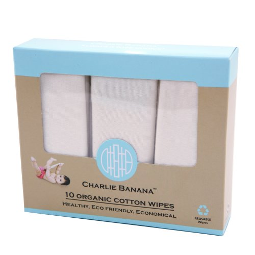 Charlie Banana 10 Reusable Organic Cotton Wipes front-961014