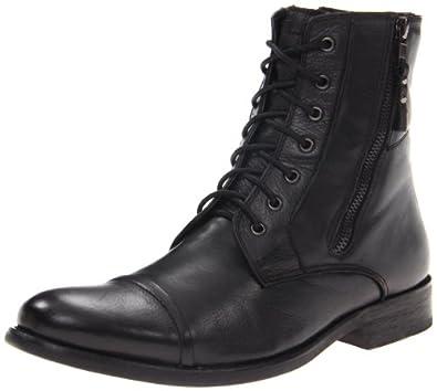 Kenneth Cole REACTION Men's Hit Men Lace-Up Boot,Black Leather,7 M US