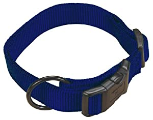 "Hamilton 5/8"" Adjustable Dog Collar, adjusts from 12-18 inches, Navy Blue"