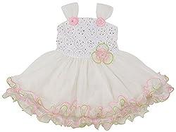 Yashasvi Girls' Layered Dress (CAYB_WH_9049(26), 5-6 Years, Pink and White)