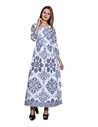 PANIT_White and Blue Maxi Dress_Extra Large