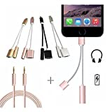 2 in 1 iPhone 7/7Plus Adapter, Premium Lightning Charger & 3.5mm Aux Headphone Jack Audio Adapter.(With FREE 3.3ft Nylon Braided 3.5mm Aux Cable).Charge & Listen Music together, All in one COMBO PACK! (Color: Rosegold, Tamaño: 3.3 feet)