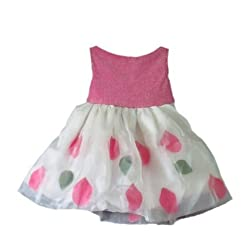 Trends and Me Handmade Designer White Organza and Pink Shining Shimmer Dress for Girls