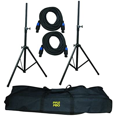 Pyle-Pro PMDK101 Heavy-Duty Aluminum Anodizing Dual Speaker Stand & 21FT Speakon Cable Kit from Sound Around