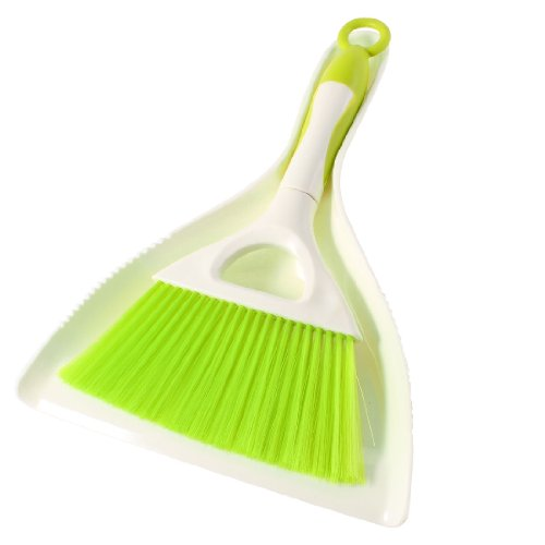 Beige Green Plastic Windowsill Floor Cleaning Broom Brush Dustpan Set
