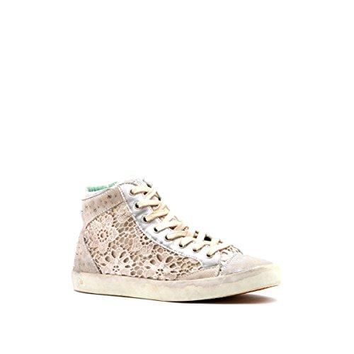 CAFè NOIR EG916 bianco scarpe donna mid sheakers zip tessuto pizzo