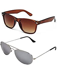 SHEOMY COMBO OF STYLISH SILVER MERCURY AVIATOR GOGGLES AND BROWN WAYFARER SUNGLASSES WITH 2 BOX - Free Delivery