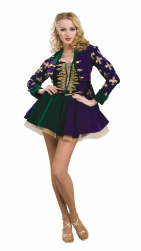 Forum Designer Collection Mardi Gras Sexy Maiden Adult Costume, Green/Gold/Purple, Small