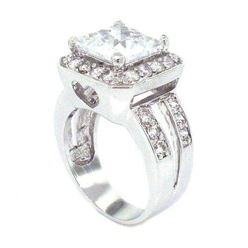 Impressive Classic Promise Ring w/Solitaire & pavé White CZs Size 7