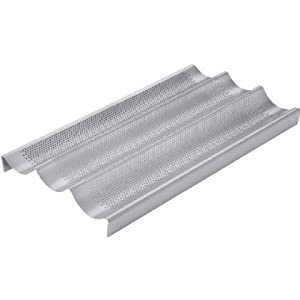 4 X Chicago Metallic Commercial II Non-Stick Perforated Baguette Pan