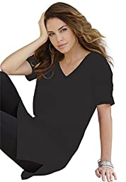 Roamans Women\'s Plus Size V-Neck Max Tunic Black,L
