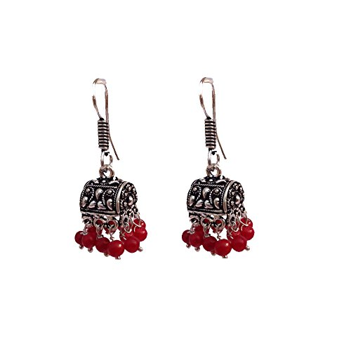 Kaizer Jewelry HandiCraft HandMade High Quality German Silver Jhumki with Red Maroon beads(Better than Oxidized) Jhumki Jhumka For Women / Girls (Gift)  available at amazon for Rs.199