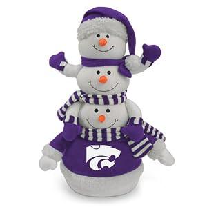"18"" NCAA Kansas State Wildcats Plush Towering Triple Snowman Christmas Decor"