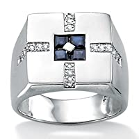 Mens Blue Sapphire Sterling Silver Ring