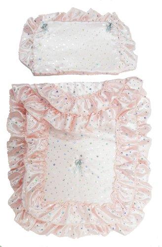Country Cradles Baby Pink/Sparkles Pretty Dolls Pram Set Incs Quilt & Pillow