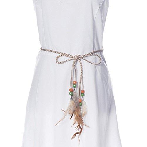 Sunward Fashion Women Braided Feather Waist Belt Waistband Dress Waist Chain (Khaki)