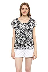 MARTINI Floral Side Ruffle Waist Length Black White Georgette Top