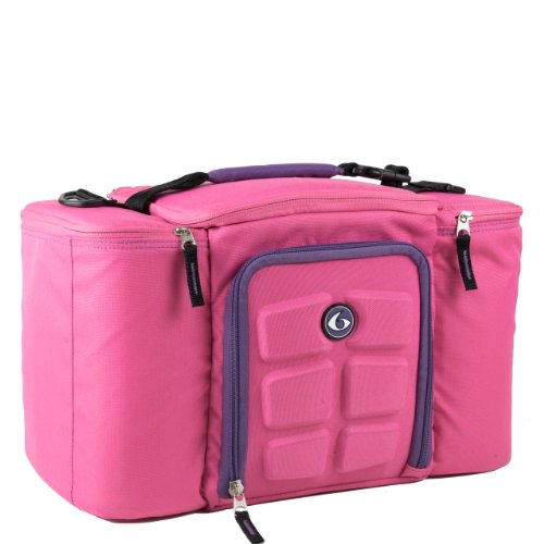 6 Pack Fitness Innovator Insulated Meal Management Bag, Pink, 300 (3 Meals)